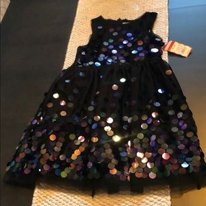 Girls black large sequin dress NWT